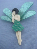 Lea Stein of Paris Green Fairy - Sparkly Dragonfly Shaped Wings  (SOLD)